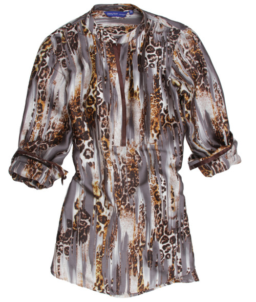 So soft and comfortable for daytime  into evening! Malayne popover tunic is silk that just flows and gives you a sporty dressed up look. The back is slightly longer with an open neckline. Model is wearing a small. Arms and shoulder are a bit more fitted to give a contemporary look. We recommend to size up for comfort and the flowing look. 100% Silk