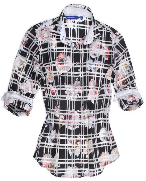 Women's Plus Sizes Women's Feminine button down shirts is what Georg Roth stands for and truly sets us apart.  As with Greta's Garden, so sophisticated and rich in Black, White & Pinks. Slightly shaped with a beautiful discrete under the collar black & white sequin trim.  Inside the collar stand and inside the cuffs is a very soft pink solid adding grace and elegance to this magnificent piece you will cherish.  55% Cotton 45% Eu Poly