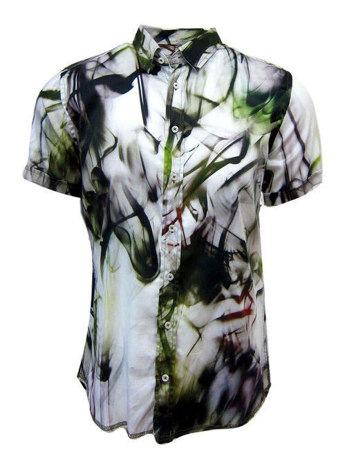 Our wonderful, asymmetric print!   An explosion of colors bursting out of a white ground .....tones of olive, wine, purple and charcoal in short sleeves. These colors are gorgeous together.  The perfect Georg Roth style and fit, and as always paying attention to detail makes this the stunning hit that it is. 100% Cotton. Short Sleeves Men's Shirt