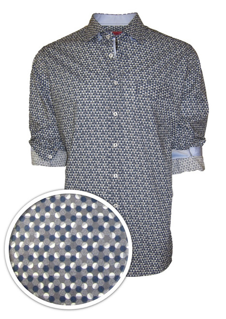 """""""A man for all seasons"""" and a """"shirt for all reasons""""!  Wherever...whenever, morning, noon or night this will be one of your most favorite.   That casual business meeting or an evening out dining, it will take you anywhere.   This outstanding imported European 100% cotton fabric will fill an fit like a dream.   Blue, gray and white and embellished with a solid white in he collar stand and on the cuffs when rolled add that special touch.    The double zig-zag stitching on the hem line make this the finished look of perfection 100% Cotton"""