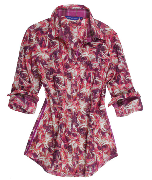 This Georg Roth Los Angeles Pia long sleeve blouse has a sophisticated sense of style. The gorgeous Liberty of London shades of lilac and magenta fantasy floral print is detailed with a magenta plaid contrast inside the collar stand and cuffs. Finishing touches of a multicolor fantasy print on the outer collar stand. Highlighted with a lilac crushed velvet ribbon inside front placket. All seams are done to perfection with contrast stitching in lilac. 100% Cotton