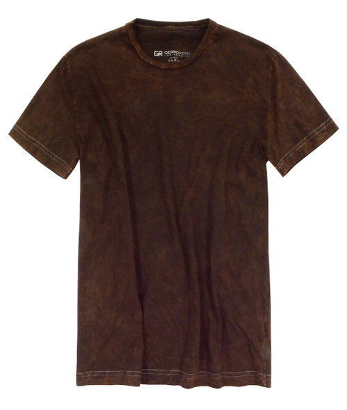 Luxury Crew Neck Short Sleeves Garment Dyed Pima Cotton Mens Tshirt Brown TCSS-8014