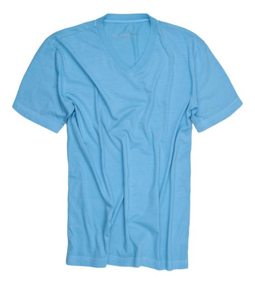 Luxury V Neck Short Sleeves Pima Cotton Mens Tshirt Sea Foam TVSS-5024