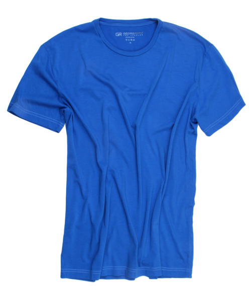 Luxury V-Neck Short Sleeves Pima Cotton Mens T-Shirt Royal Blue TVSS-5017