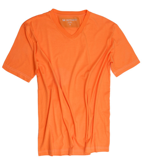 Luxury V-Neck Short Sleeves Pima Cotton Mens TShirt Orange-TVSS-2009