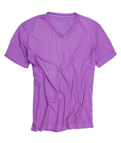Luxury V-Neck Short Sleeves Pima Cotton Mens T-Shirt Purple TVSS-4011