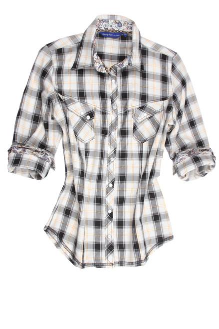Tasha-B22015-705-Long-Sleeves-Snaps Cotton Women Blouse Plus sizing
