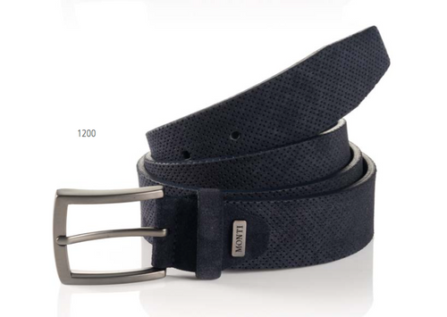 Madrid 06 313-0013-1200 Blue Suede Fashion Leather Belt