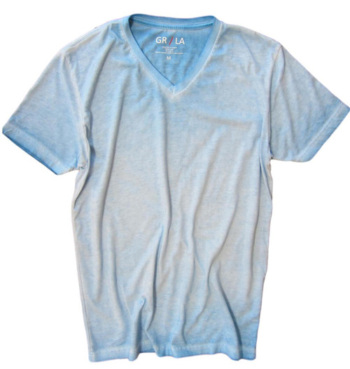 GRLA-V-5023-Turquoise-Short-Sleeves-Garment Dyed-T-Shirt