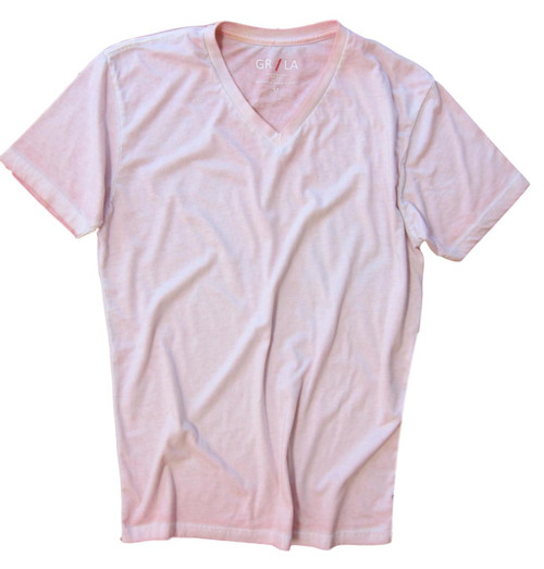 GRLA-V-3016-Pink-Short-Sleeves-Garment Dyed-V-Neck-T-Shirt