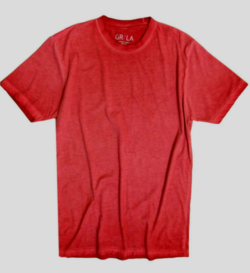 Men's Short Sleeves Crew T-Shirt Color Brick / Garment Dyed 60% Cotton / 40% Polyester