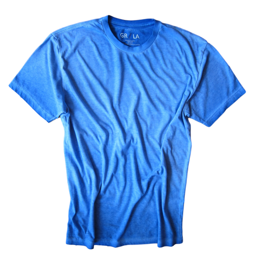 Men's Short Sleeves Crew Neck T-Shirt Color Blue Lagoon / Garment Dyed Sizes S - XXXL 60% Cotton / 40% Polyester Looks great in combination with our Venice Beach 24021W-020 casual Shirt http://www.georgrothlosangeles.com/venice-beach-24021w-020-long-sleeves-cotton-shirt/ Made in America