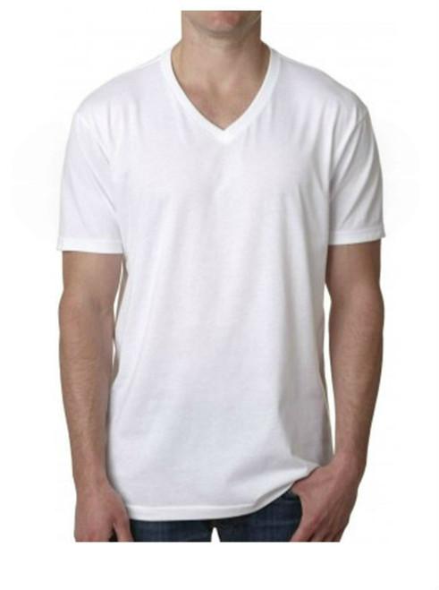 Men's Short Sleeves V Neck T-Shirt Color White 60% Cotton / 40% Polyester