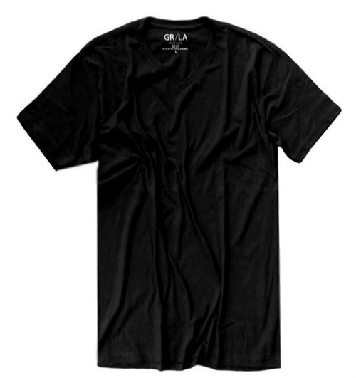 GRLA-V-9005-Black V- Neck-Short-Sleeves-