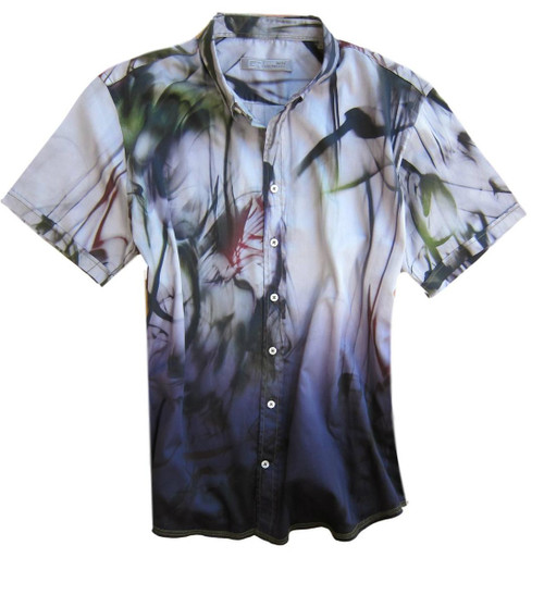 "So rich and dramatic is our Art Collectors Garment dyed short sleeve print shirt. Stunning shaded of deep eggplant and purple with splashes of deep red & green makes this shirt ""Casual Dress"".  Georg also loves it open with a tee under it! The perfect Georg Roth style and fit, and as always paying attention to detail makes this the stunning hit that it is. 100% Cotton. Short Sleeves Men's Shirt Slightly fitted - For a relaxed look, please size up."