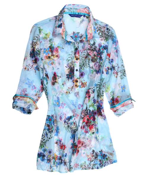 Selena B24010-703 Cotton Silk Voile Long Sleeves Pop Over Silk Tunic