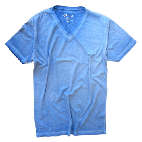 Men's Short Sleeves - V-Neck - T-Shirt Color Blue Lagoon / Garment Dyed 100% Cotton
