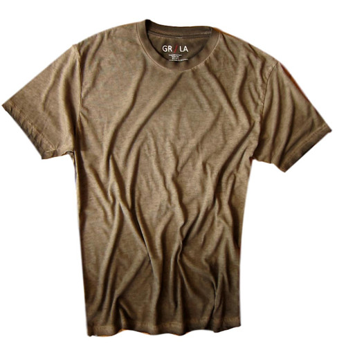 Men's Short Sleeves Crew T-Shirt Color Coffee / Garment Dyed 60% Cotton / 40% Polyeste