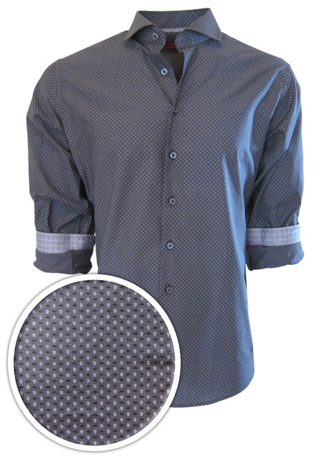 """Indulge yourself in this easy going upscale fashion shirt.  You can't help but love our very finest imported 100% Pima Cotton fabric.  It is soft, comfortable and completely washable. Georg Roth chose this Gray on Gray with a White dot pattern to enhance any pant or jean already in your wardrobe.  Adding that extra special touch, the cuffs are embellished with a light Gray companion pattern that looks great when the sleeves are rolled.  Small prints are so very """"in"""" and you can be too wearing this very handsome number!"""