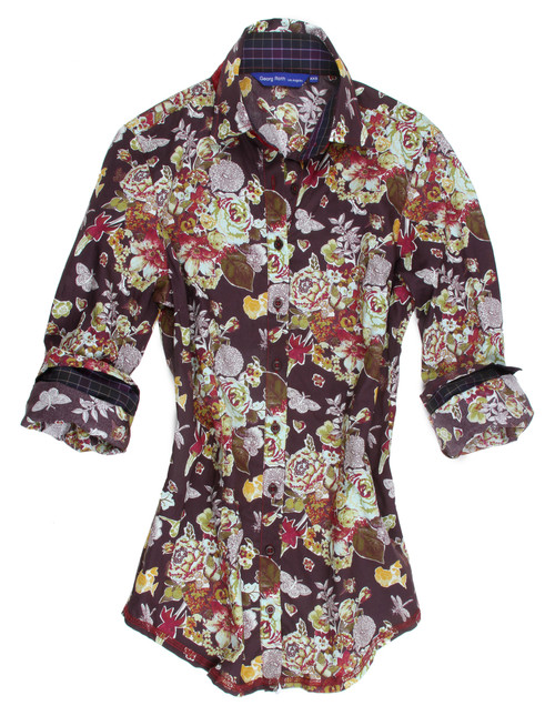Liberty of London autumn floral. Detailed with a navy & eggplant mini plaid contrast inside the collar and cuffs. Finishing touches of cranberry sequins on the outer collar stand. All seams are done to perfection with contrast stitching in cranberry. 100 Cotton