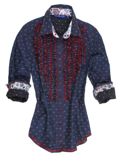 Lena B10074-706 Long Sleeves Cotton Ruffles Blouse