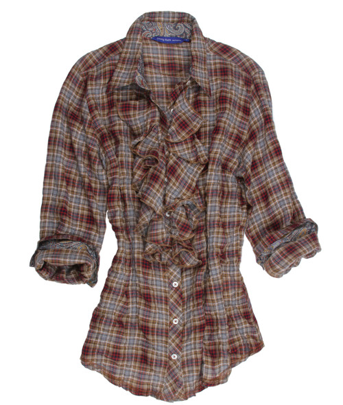 Easy comfort and elegant style meet in this dreamy soft red, olive & creme long sleeve plaid blouse which is finished with a glitter thread in copper. Details include a Liberty of London paisley print inside the collar stand and cuffs and a copper crushed velvet ribbon inside the collar stand and inside front placket. Finished with a ruffle on front bib. All seams are done to perfection with stitching in glitter copper.  99% Cotton, 1% Spandex