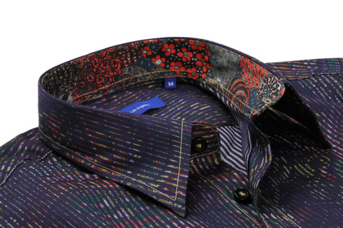 64ac88c08c4 ... A masterpiece of fabrication from Italy. Dark midnight with a fantasy  of multi color print · Fit Guide Model 023
