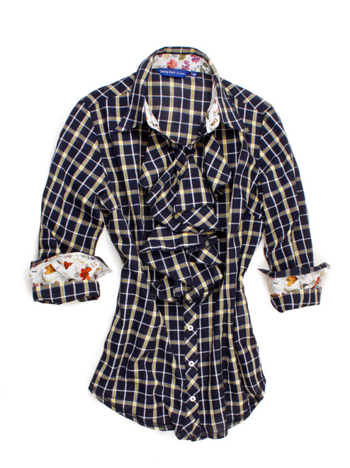 Katherine B30033-708 Long Sleeves Raffles Cotton Blouse