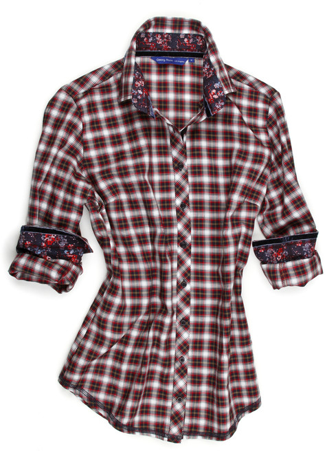 Soft and light classic plaid cotton flannel in Red & Navy. Known for details and creating a blouse like no other Georg Roth has put all the embellishments on this gem. A stunning navy & red print inside the collar stand and cuffs. A velvet navy ribbon trimmed inside the collar stand, inner front placket and yes, inner cuff edges. Looks super with the sleeves rolled up. Finished with our blue mat sequin under the collar stand adds the finishing touch! 100% Cotton Slightly fitted at the waist
