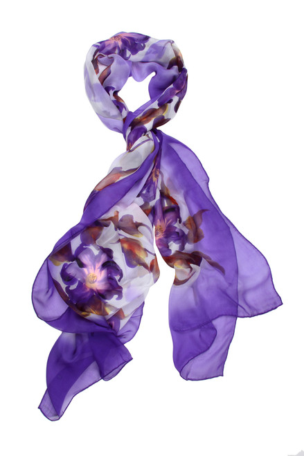 S20005 LAVENDER 100% SILK SCARVE HAND PAINTED