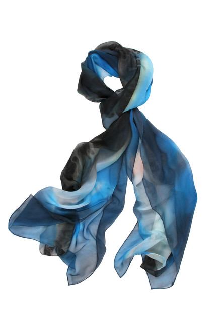 S20008 STARRY NIGHTS 100% SILK SCARVE HAND PAINTED