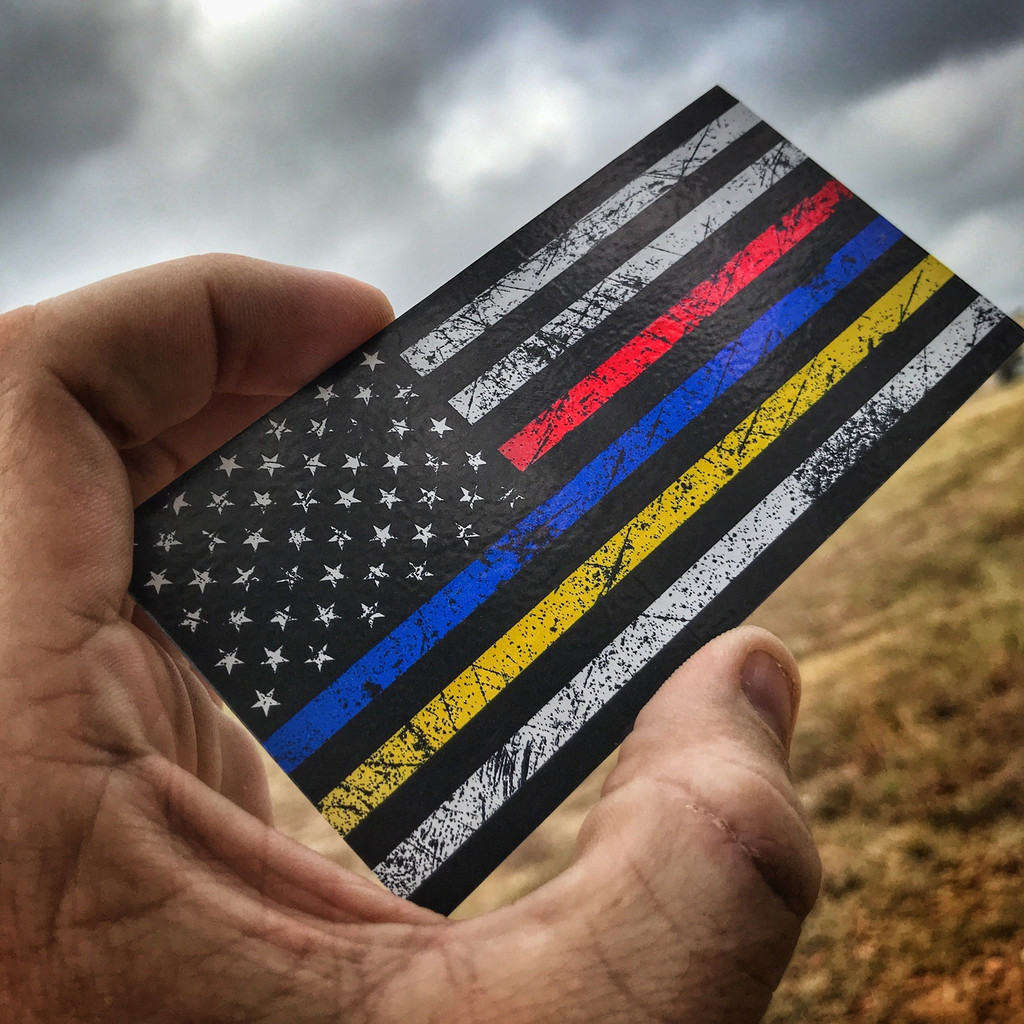 American Flag Rustic Red Blue Yellow - Sticker