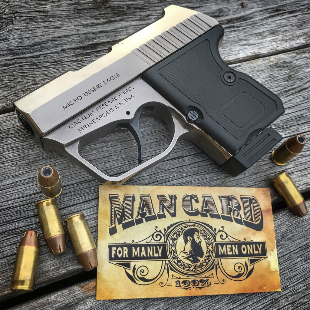 Lone Star Signs Man Card with Desert Eagle Micro pistol
