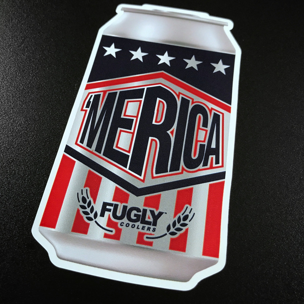 Fugly Coolers Merica Beer Can Sticker