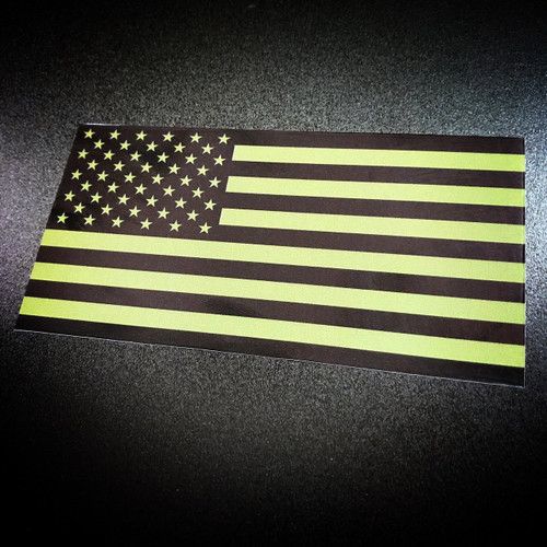 American Flag green sticker