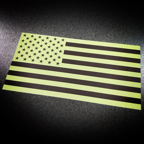 American Flag inverted green sticker