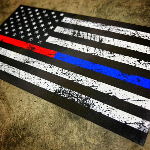 AMERICAN FLAG Rustic Red & Blue Stripe - Sticker