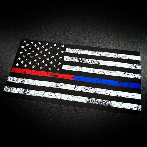 AMERICAN FLAG Rustic Red & Blue Stripe - Sticker