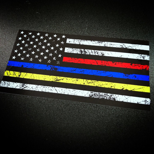 American Flag with thin Blue Red Yellow line