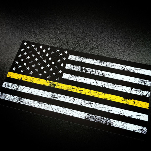 American Flag with rustic yellow stripe