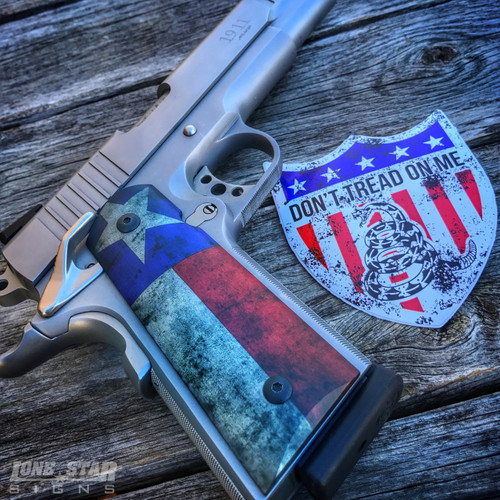 Don't Tread on me Shield by Lone Star Signs