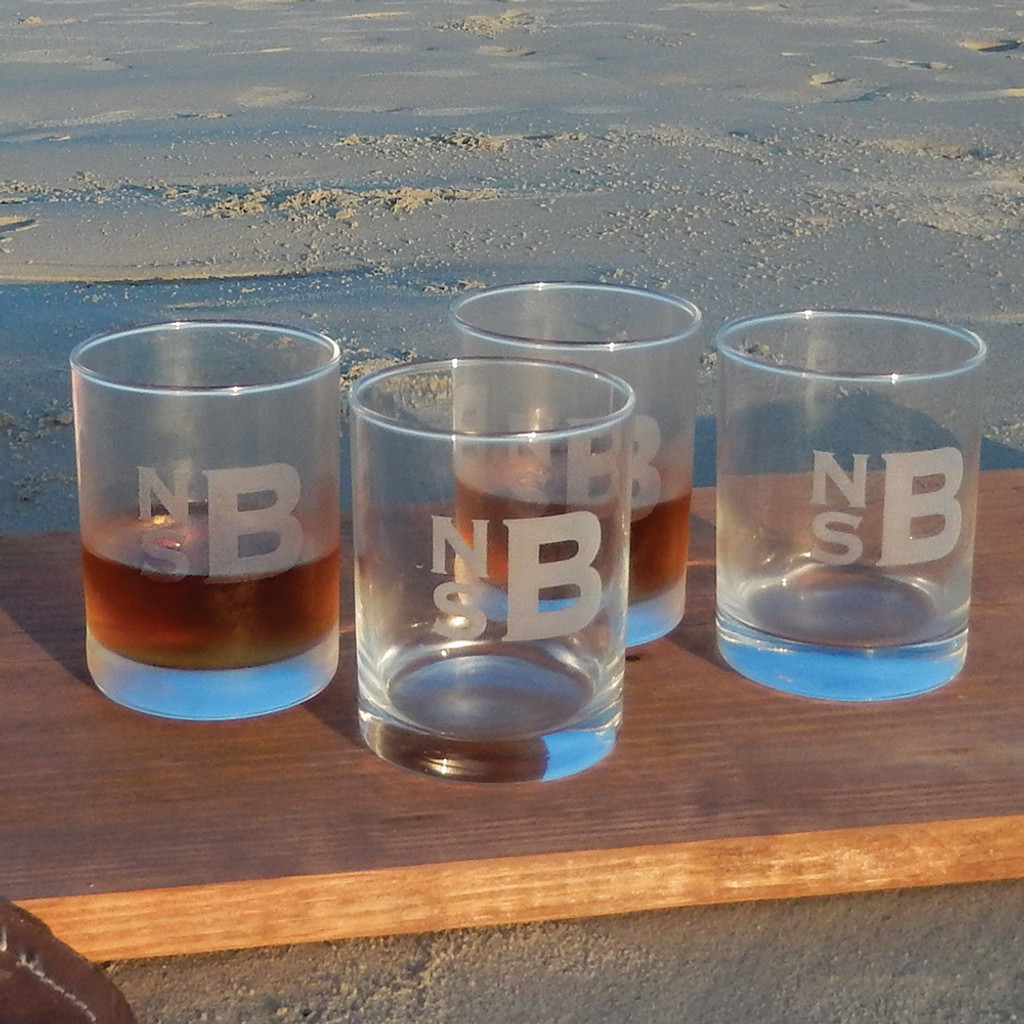 Monogrammed Classic DOF Whiskey Glass Set with Copperplate Stacked Font