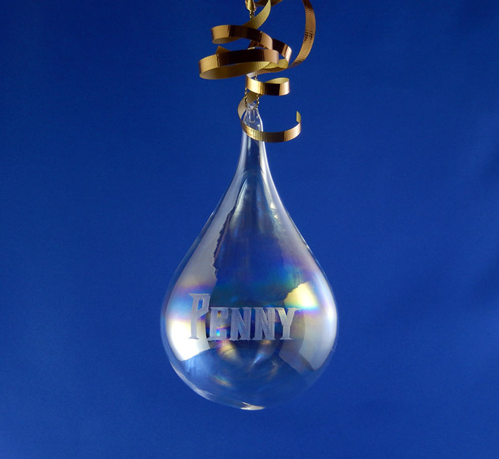 Personalized Hand Engraved Blown Teardrop Christmas Tree Ornament