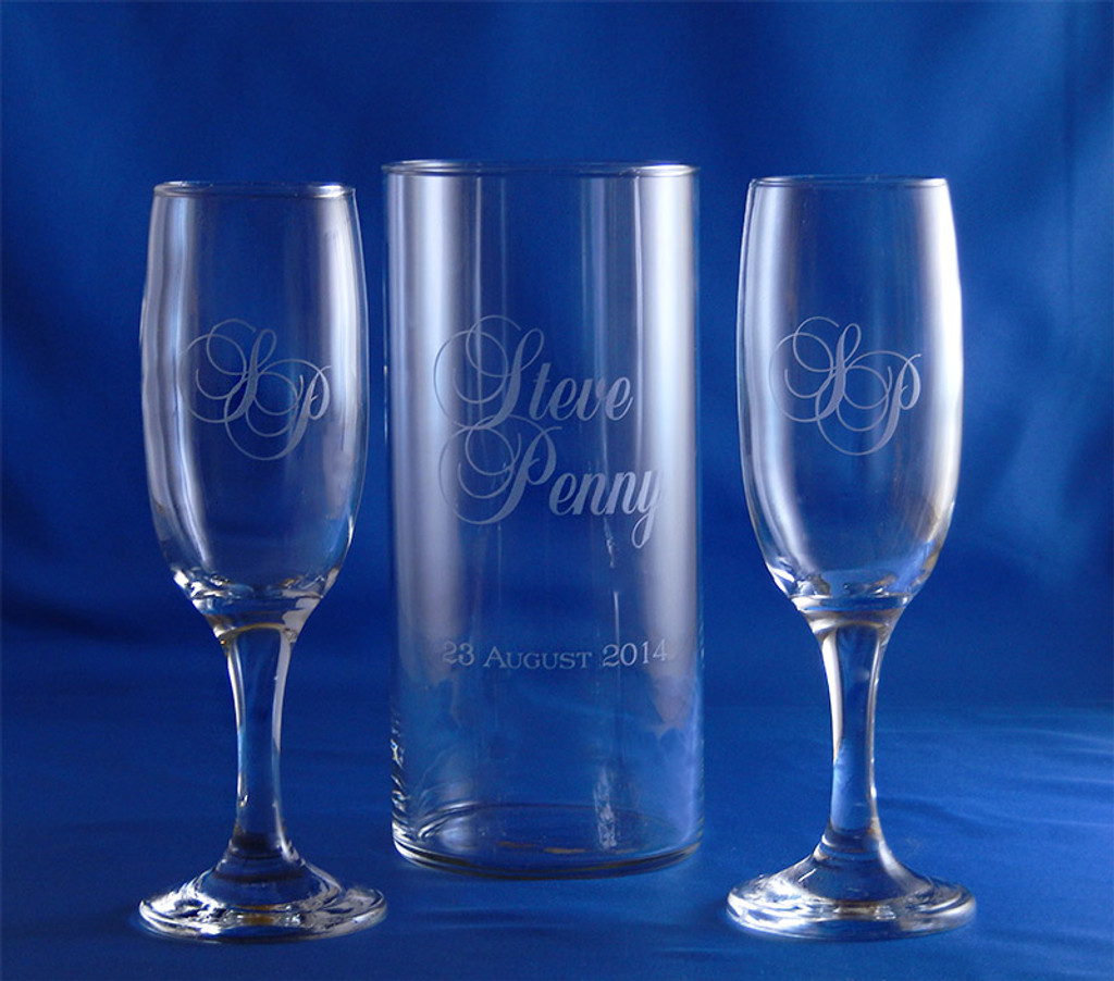 Forever Flutes and Candleholder 3pc Wedding Set