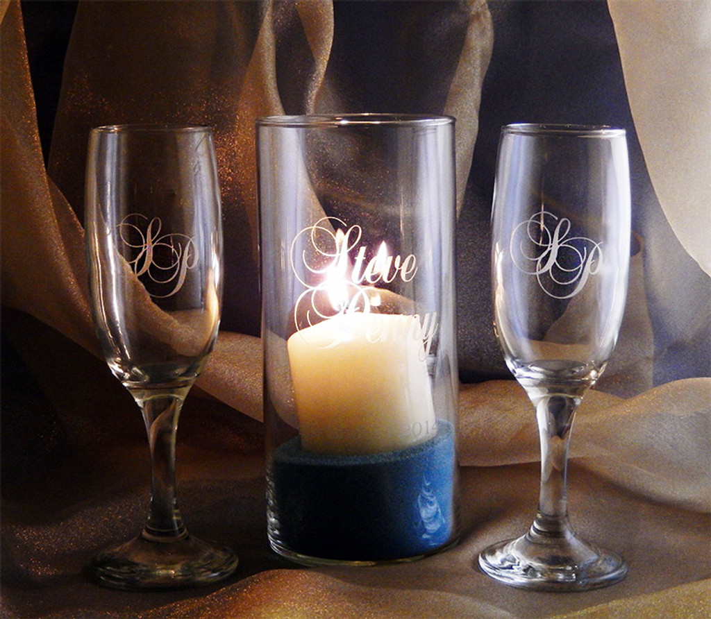 Forever Flutes and Candleholder 3pc Wedding Set with Candle and Sand