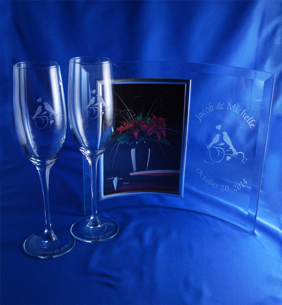 True Lovebirds Matching Frame and Flutes 3pc Wedding Set