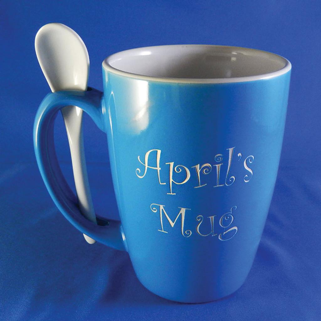 Small Monogrammed Sky Blue Ursah Spoon Mug - Curlz Font