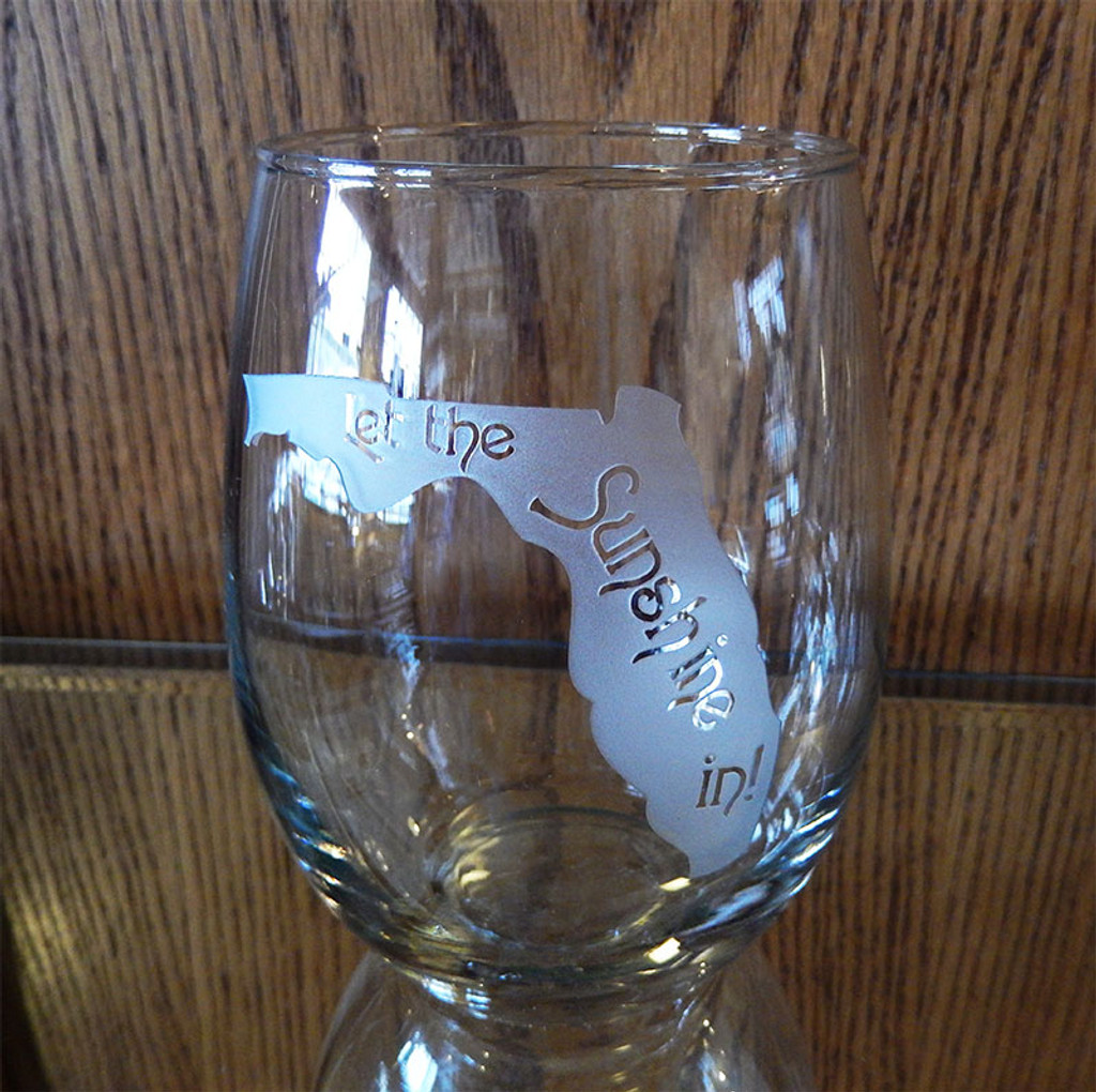 Etched Florida Silhouette Stemless Wine Glass