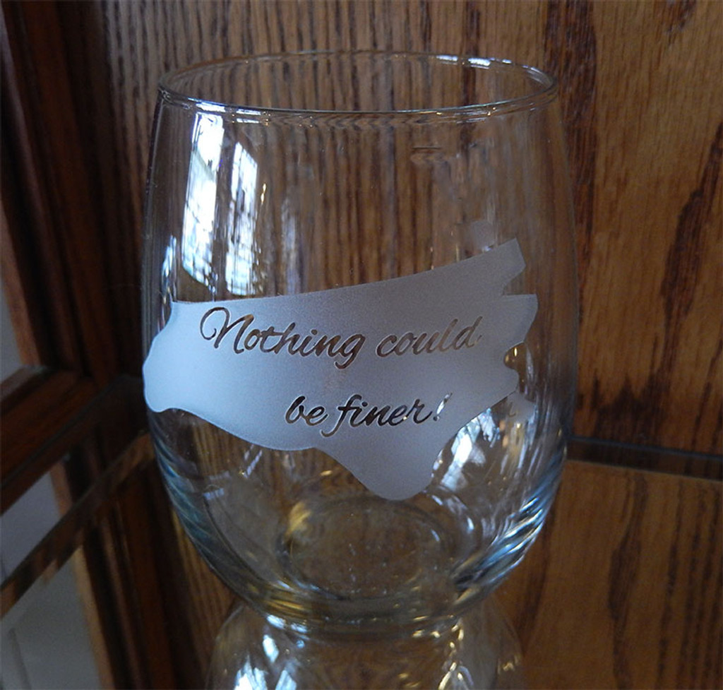 Etched North Carolina Silhouette Stemless Wine Glass