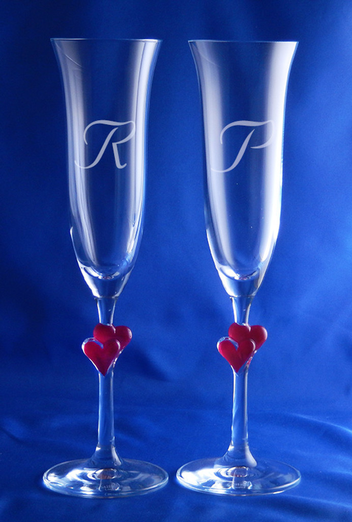 Personalized Red Amore Toasting Flutes